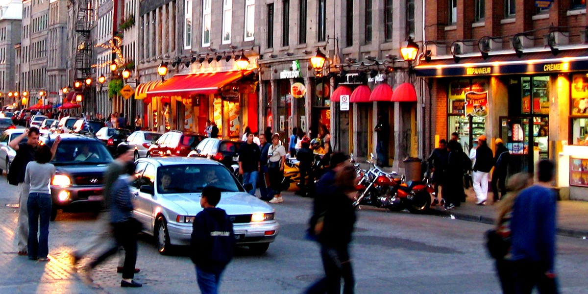 Night Scene at the street of Old montreal in Canada